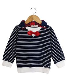 Aww Hunnie Smart Sweatshirt With Bow And Collar - Navy Blue