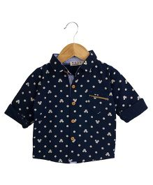 Aww Hunnie Printed Shirt With Pocket - Navy Blue