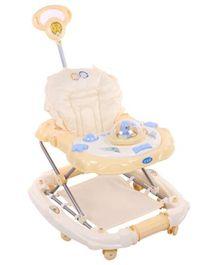 Baby Walker Cum Rocker With Parents Push Handle - Yellow