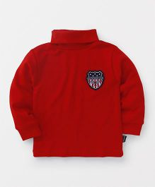 Ollypop Full Sleeves T-Shirt Baddy Club Patch - Red