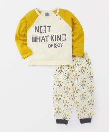Mini Taurus Raglan Sleeves T-Shirt And Lounge Pants Text Print - Yellow
