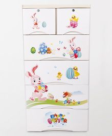 Chest of Drawers Bunny Print - White