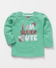 Babyhug Full Sleeves Tee Super Cute Print - Green