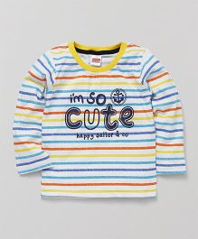 Babyhug Full Sleeves Tee Stripes Pattern - Multi Color