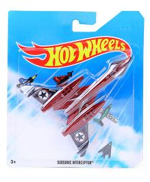 Hot Wheels Subsonic Interceptor Airplane Model Toy - Maroon