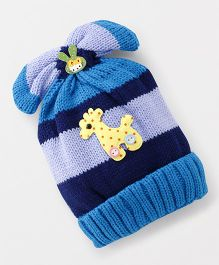 Babyhug Baby Winter Cap With Giraffe Applique - Blue