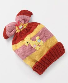 Babyhug Baby Winter Cap With Giraffe Applique - Red Pink