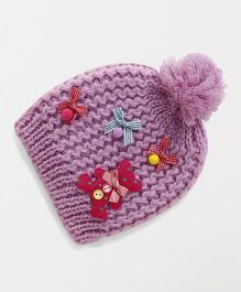 Babyhug Winter Cap Teddy Applique - Purple
