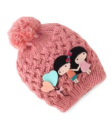 Babyhug Round Winter Cap Girl & Heart Ballon Applique - Peach