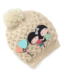 Babyhug Round Winter Cap Girl & Heart Ballon Applique - Cream
