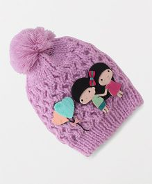 Babyhug Winter Cap Girl Applique - Purple
