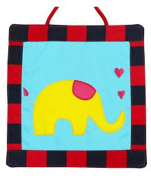 Yellow Elephant Applique Diwali Wall Hanging - Blue Yellow
