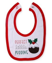 NeedyBee Soft Cotton Baby Feeding Bib Pudding Patch - White & Red