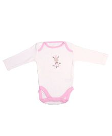 NeedyBee Full Sleeves Printed Onesies - White & Pink