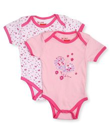 NeedyBee Half Sleeves Onesies Butterfly & Floral Print Pack Of 2 - Pink