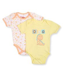 NeedyBee Half Sleeves Onesies Dino Print Pack Of 2 - Yellow & Peach