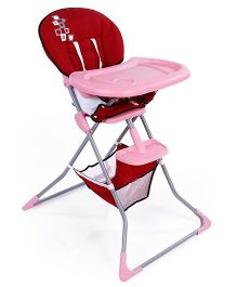 High Chair With Removable Food Tray - Pink Red
