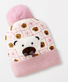 Babyhug Baby Winter Cap Bear Applique - Pink Cream