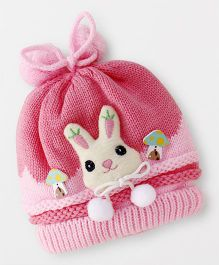 Babyhug Round Winter Cap Bunny Face Applique - Light Pink