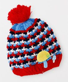 Babyhug Winter Cap Stripe Design - Blue Red
