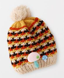 Babyhug Winter Cap Stripe Design - Yellow Cream