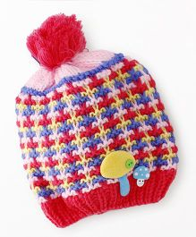 Babyhug Winter Cap Stripe Design - Dark Pink
