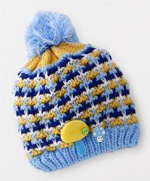 Babyhug Winter Cap Stripe Design - Light Blue Yellow