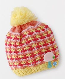 Babyhug Winter Cap Stripe Design - Yellow Orange