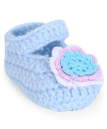 Cute Walk by Babyhug Sock Shoes Flower Applique - Sky Blue