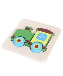 Alpaks Wooden Mini Raised Puzzle Train - Multicolor