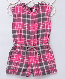 Popsicles Clothing By Neelu Trivedi Checkered Elasticated Playsuit - Pink