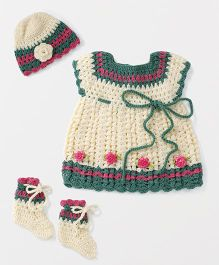 The Original Knit Floral Design Sweater With Cap & Booties - Multicolor