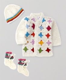 The Original Knit Full Sleeves Buttoned Sweater With Cap & Booties - Off White