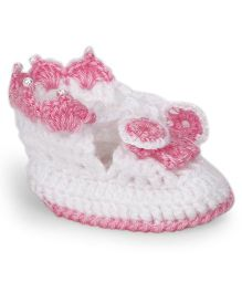 The Original Knit Floral Booties With Pearls - Pink & White