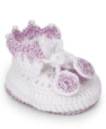 The Original Knit Floral Booties With Pearls - Mauve & White