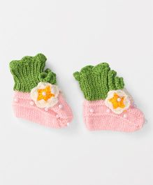 The Original Knit Floral Design Booties - Pink & Green