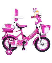HLX-NMC Bicycle With Trainer Wheels Pink & White - 12 inches