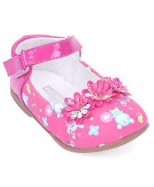 Cute Walk by Babyhug Belly Shoes Floral Motifs - Pink