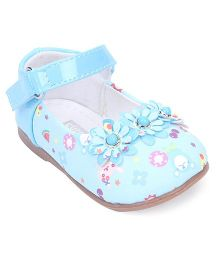 Cute Walk by Babyhug Belly Shoes Floral Motifs - Blue