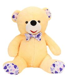 Play Toons Teddy Bear Soft Toy With Bow Cream Purple - 66 cm