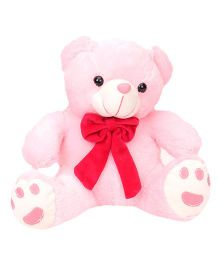 Play Toons Teddy Bear Soft Toy With Bow Pink - Height 25.4 cm