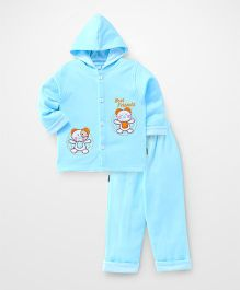 Child World Full Sleeves Winter Wear T-shirt & Bottom Embroidery - Aqua
