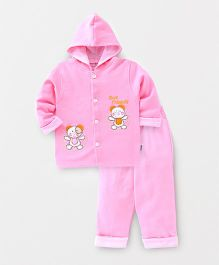 Child World Full Sleeves Winter Wear T-shirt & Bottom Embroidery - Pink