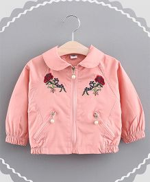 Lil Mantra Flower Embroidery Collared Jacket - Peach