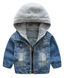 Lil Mantra Double Collared Denim Jacket With Hoodie - Denim