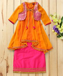 Twisha High Low Kurta Cape & Gown Set - Orange