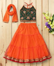 Twisha Zardosi Embroidered Blouse With Lehenga & Dupatta - Orange