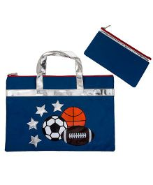 Li'll Pumpkins Football Folder Bag - Blue