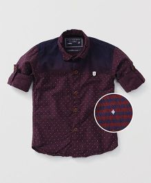 Jash Kids Full Sleeves Printed Shirt - Maroon