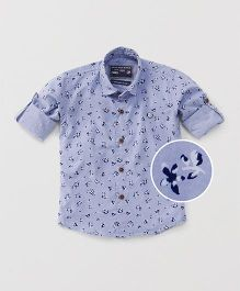 Jash Kids Full Sleeves Floral Printed Shirt - Sky Blue